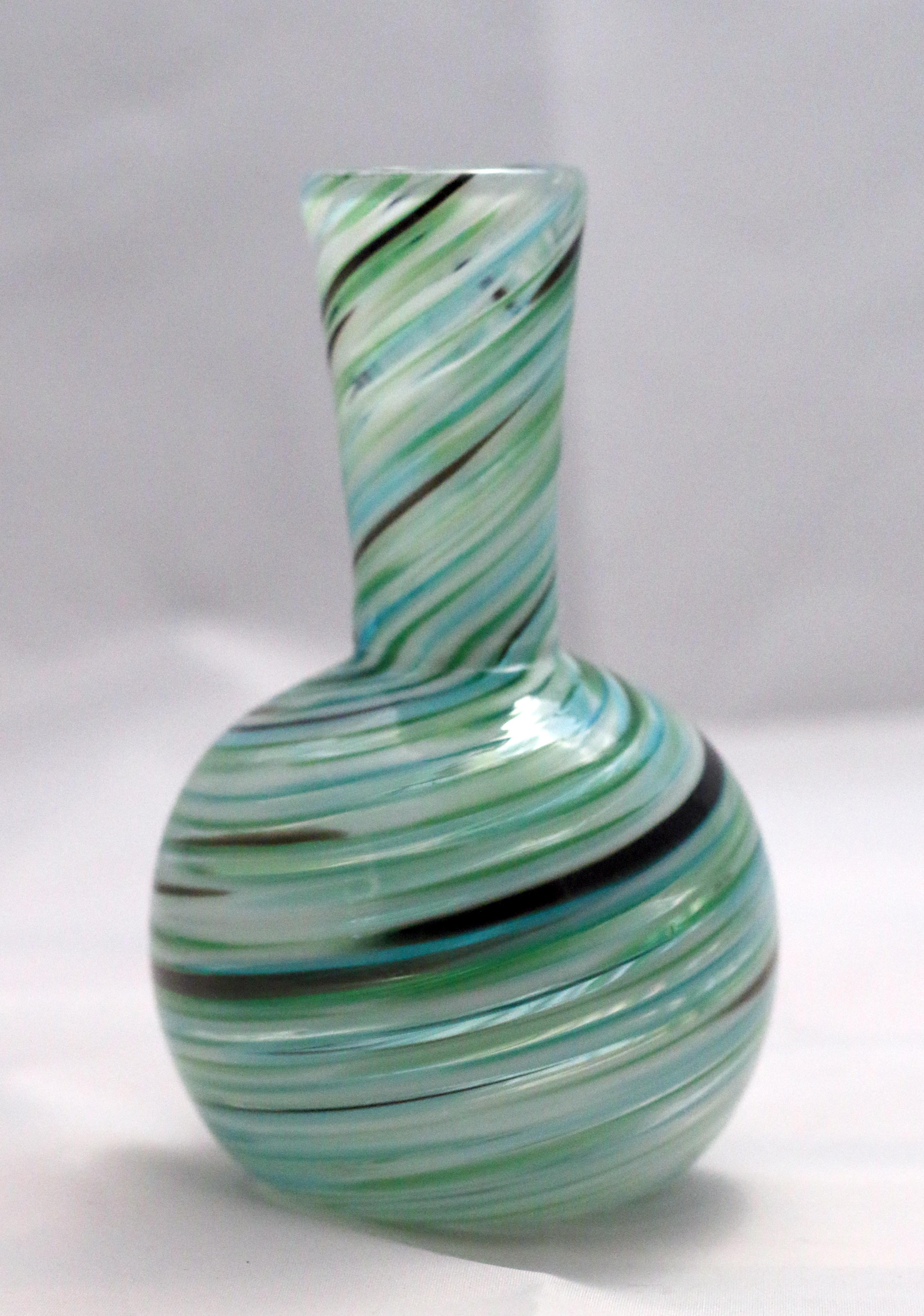 Aqua, green, white and black twist pattern handblown glass bud vase