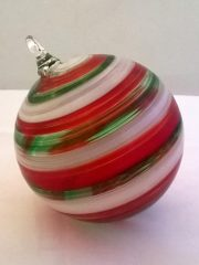 red, green and white twist pattern ornament